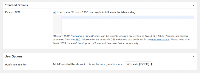 Opsi plugin TablePress