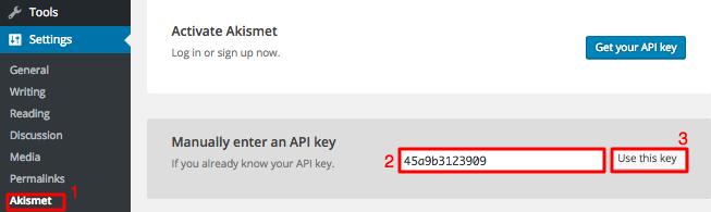 API key di halaman pengaturan Akismet