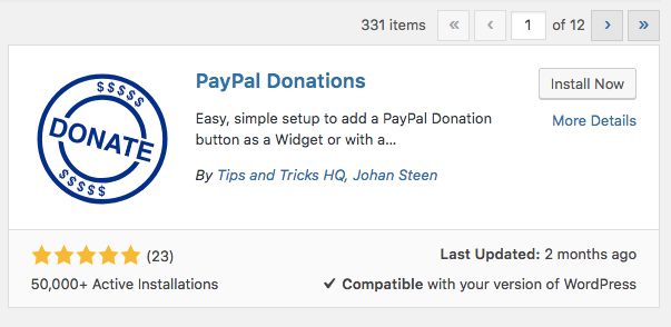 Mencari plugin PayPal Donations