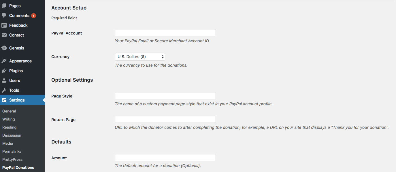 Pengaturan Plugin PayPal Donations