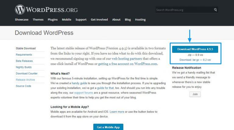 Unduh WordPress dari wordpress.org