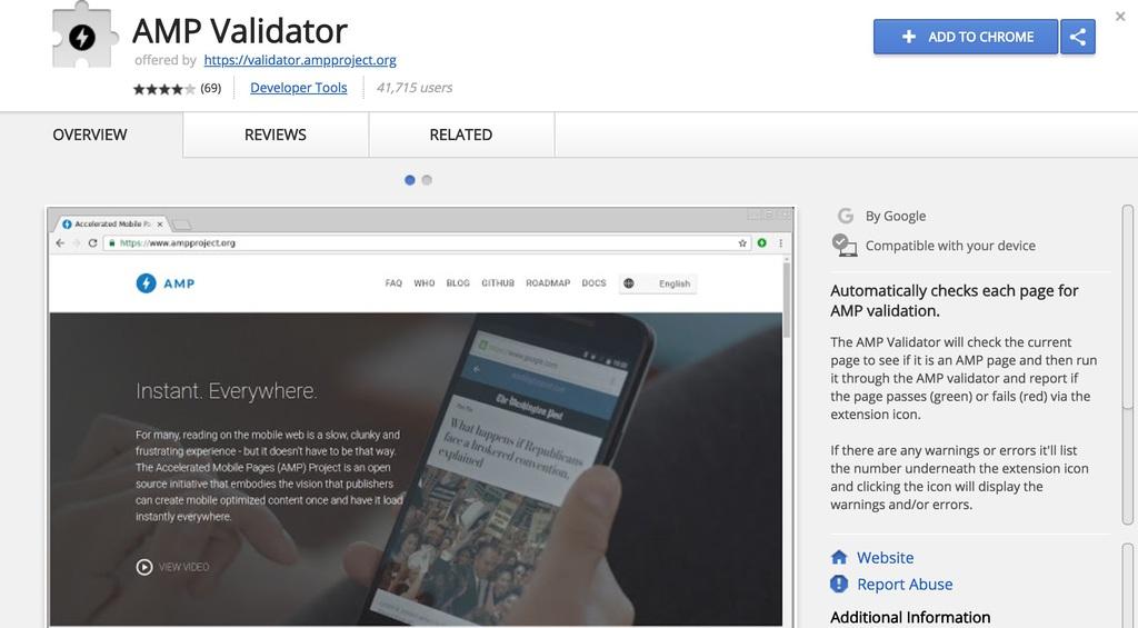Ekstensi AMP Validator untuk Google Chrome