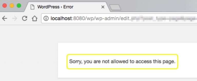 "Error ""Sorry, You are not allowed to access this page"" di WordPress"