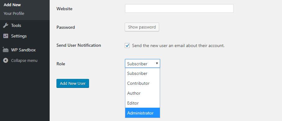 Mengatur role untuk user baru