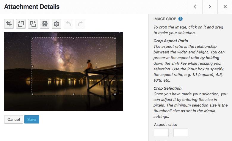 Tool crop gambar di WordPress