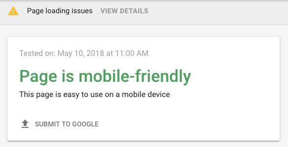 Google's mobile-friendliness test