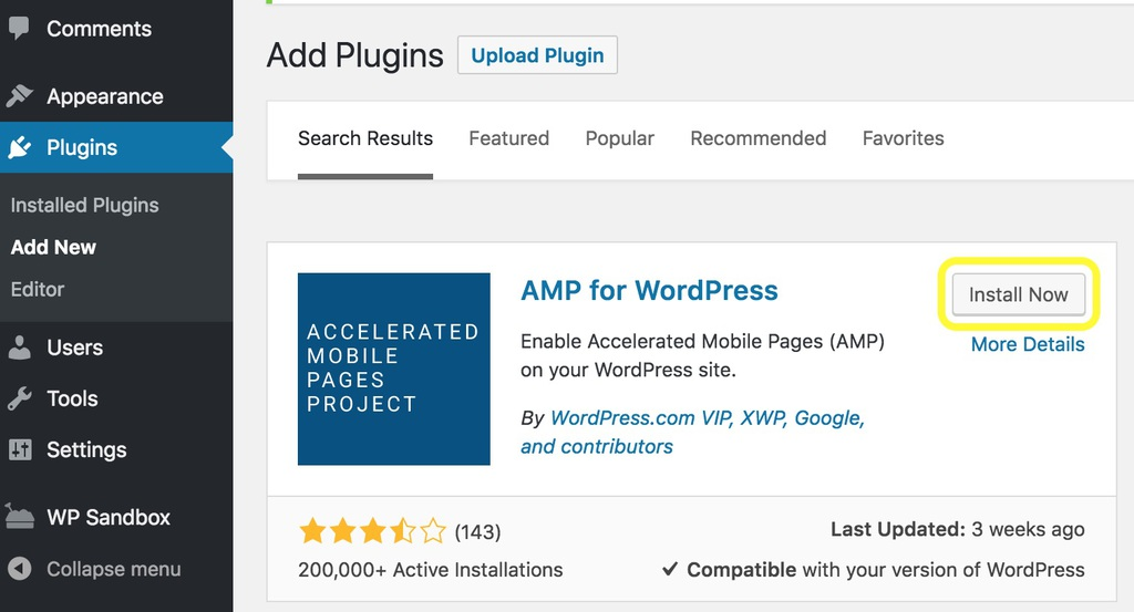 Install dan aktifkan plugin AMP for WordPress