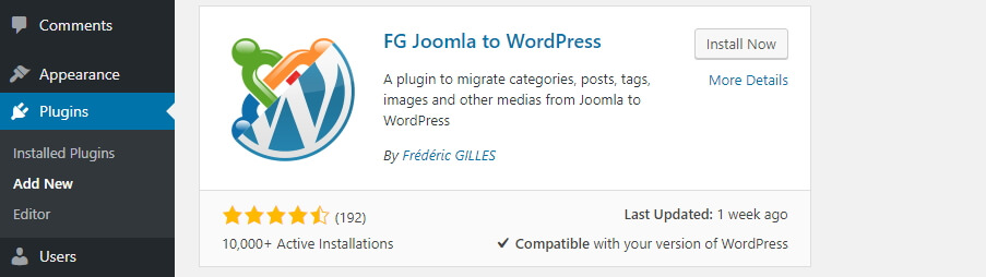 Install plugin FG Joomla ke WordPress