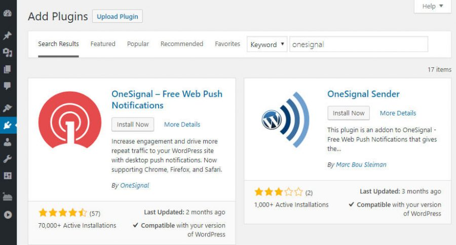 Install plugin OneSignal untuk membuat push notification website