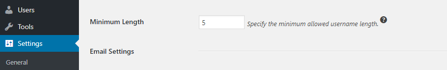 Panjang karakter username