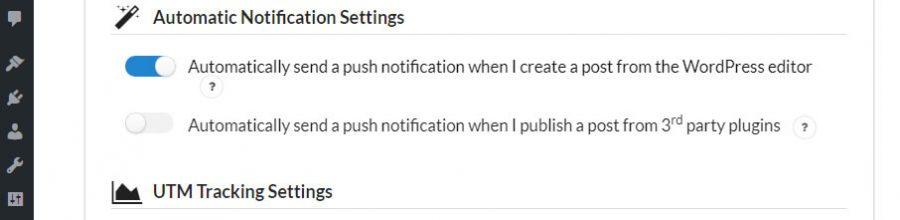 Pengaturan notifikasi otomatis
