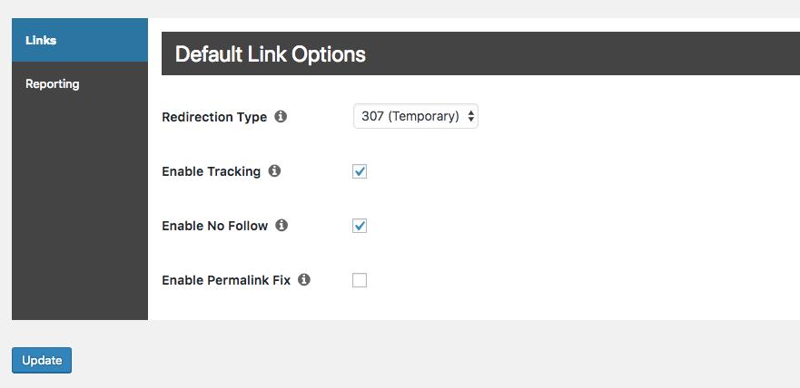 Pengaturan plugin Pretty Links