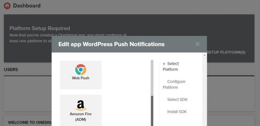 Pilih opsi Web Push