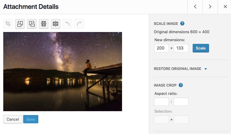 Atur ulang ukuran gambar di WordPress