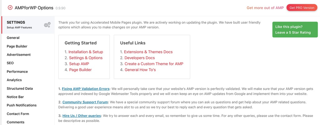 Halaman pengaturan plugin AMP for WP Options
