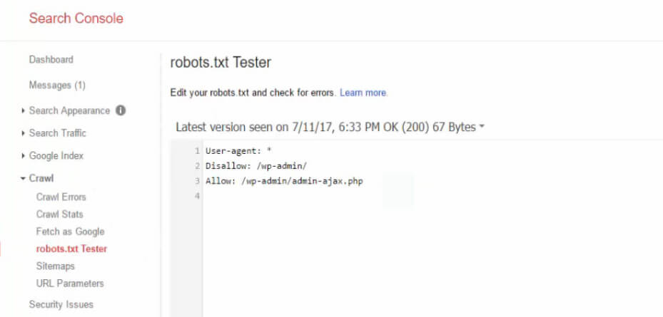 Tester search console
