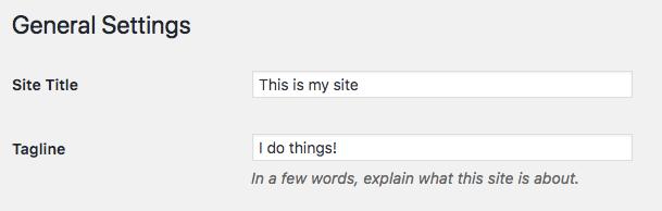 Ubah nama dan tagline situs