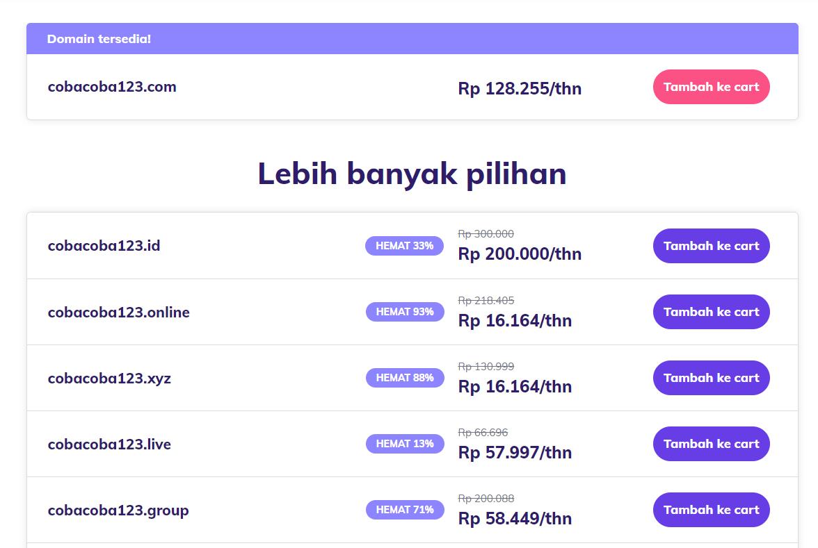 Beli domain - berbagai pilihan ekstensi