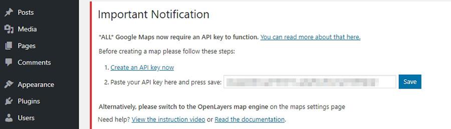 Paste API key yang telah Anda buat.