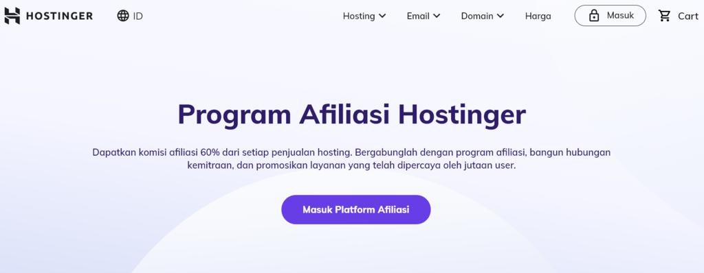 Cara mendapatkan uang dari internet dengan bergabung di program afiliasi Hostinger