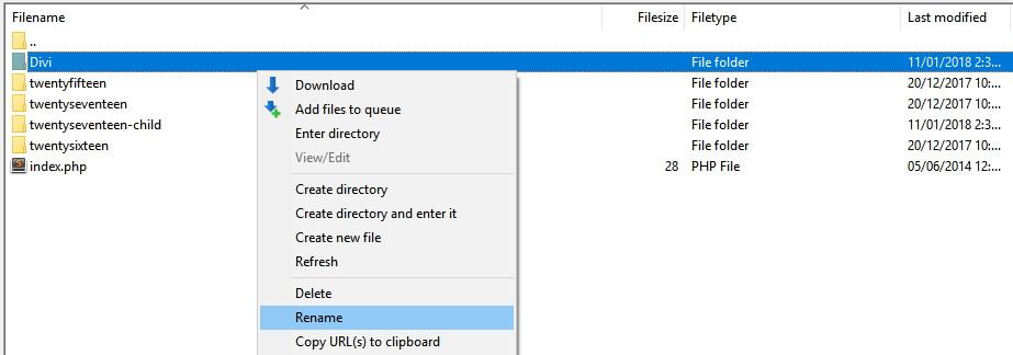 Ganti namam folder tema untuk mengatasi http error 404