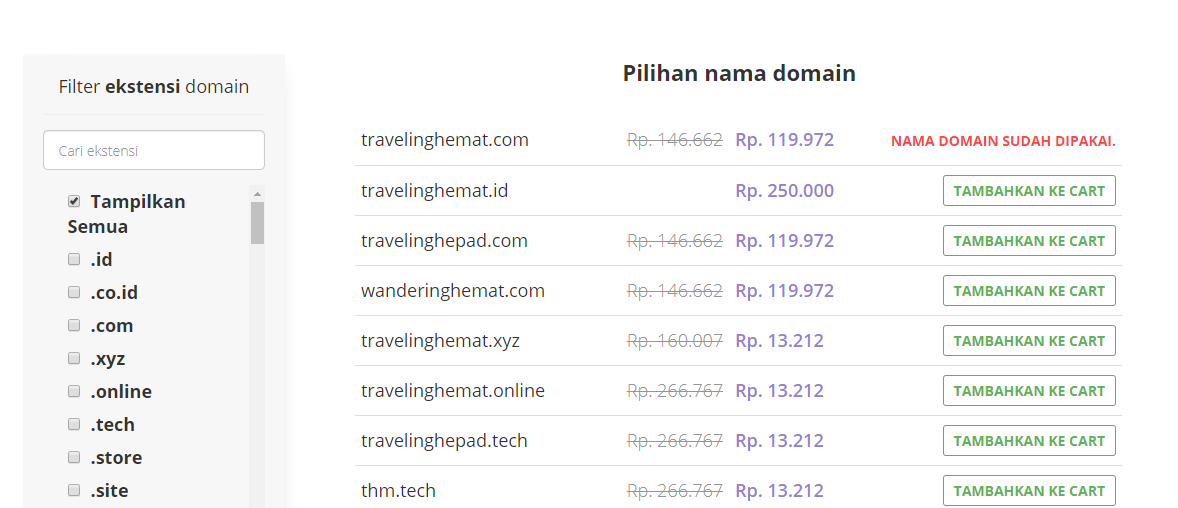 Daftar domain yang sudah dan belum terpakai