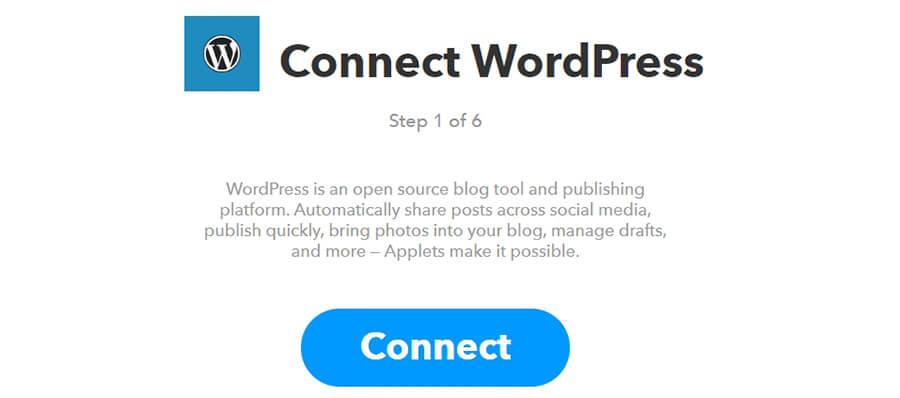 Klik Connect agar bisa terhubung ke WordPress