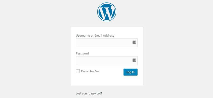 Cara ganti password WordPress - halaman login