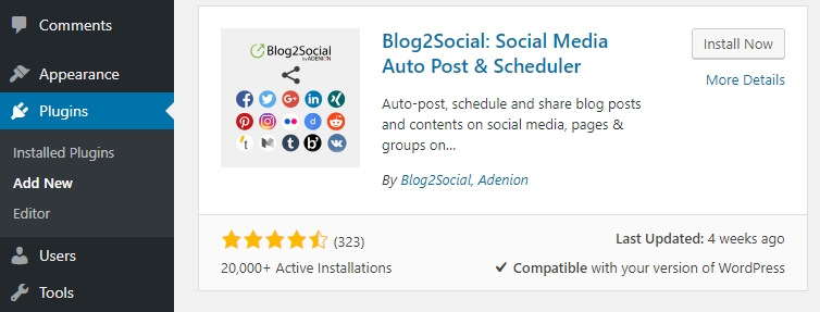 Install plugin sosial media di WordPress, yakni Blog2Social