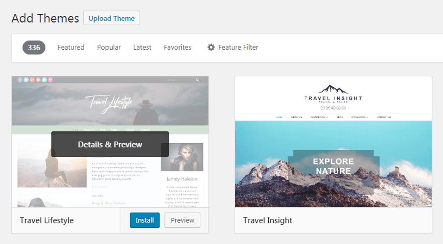 Install tema travel