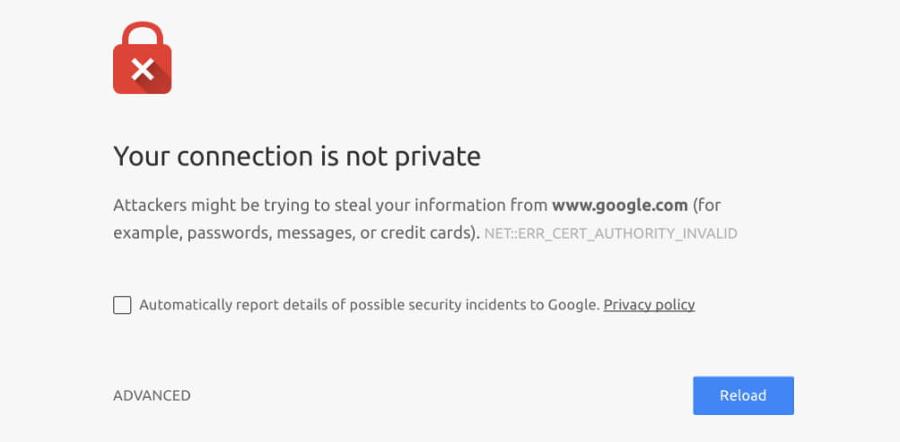 Pesan error jika situs tidak memiliki SSL