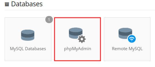 phpMyAdmin di control panel