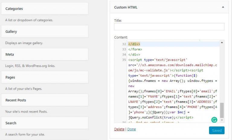 Widget Kode HTML