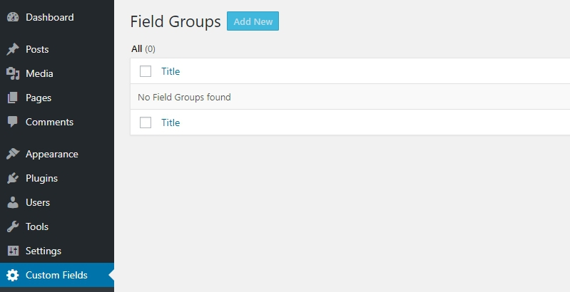 Custom field yang sudah ada