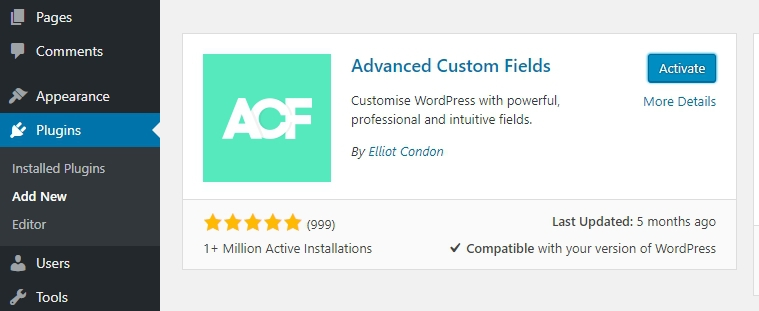 Install plugin Advanced Custom Fields
