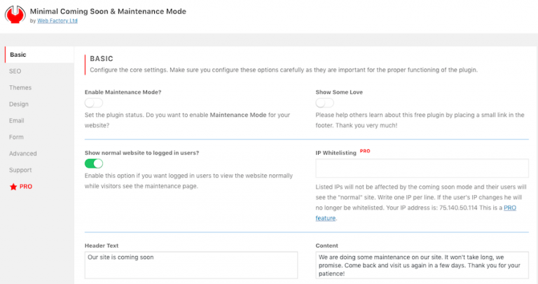 Plugin Minimal Coming Soon & Maintenance Mode