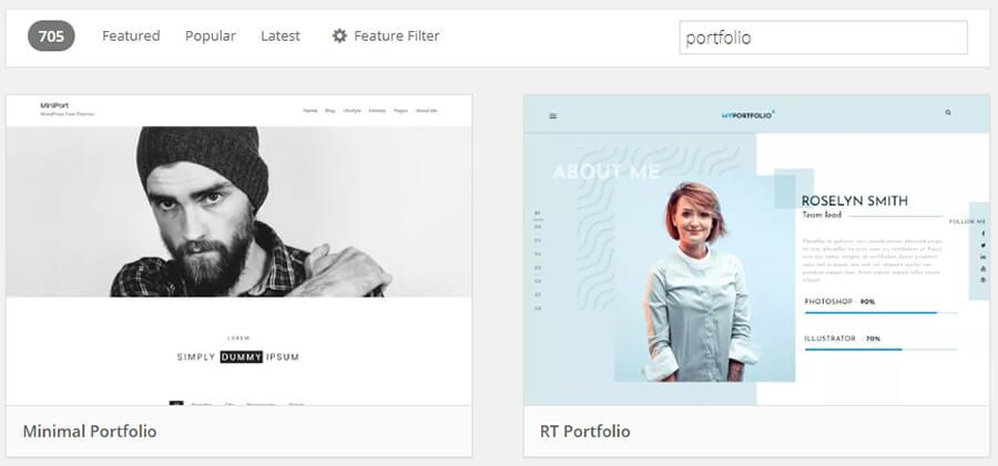 Tema untuk situs portofolio