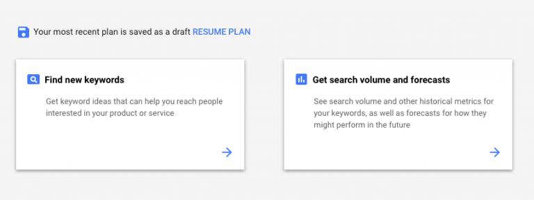 Tool Google Keyword Planner