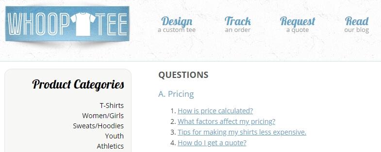 Contoh halaman FAQ di website bisnis
