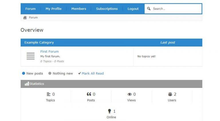 Contoh tampilan dasar untuk forum di WordPress