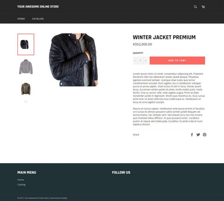 Conton tampilan toko online di Shopify
