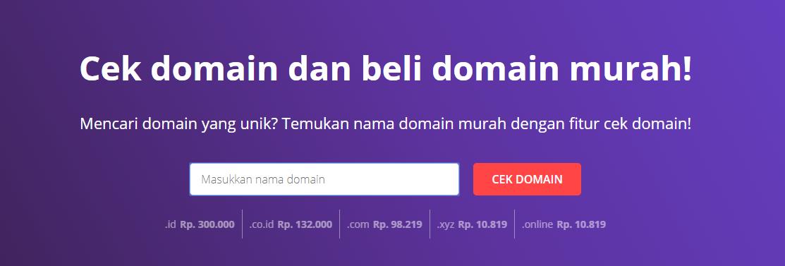 Fitur cek domain dalam cara membuat website game