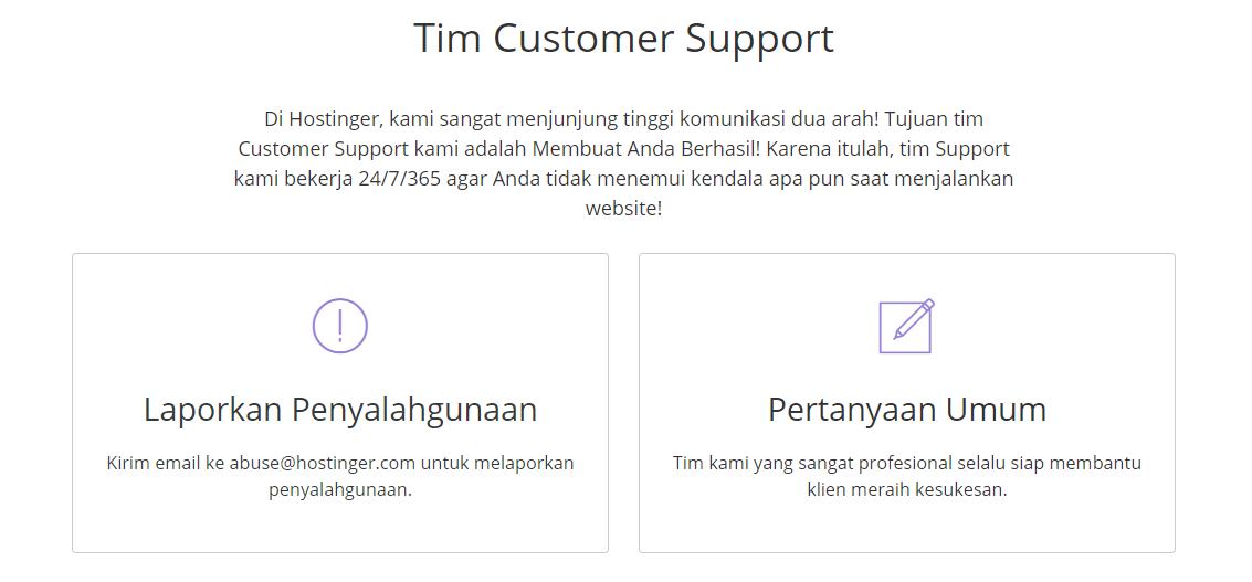 Halaman website untuk bantuan pelanggan