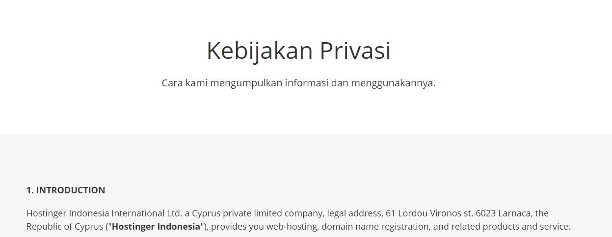 Halaman Kebijakan Privasi