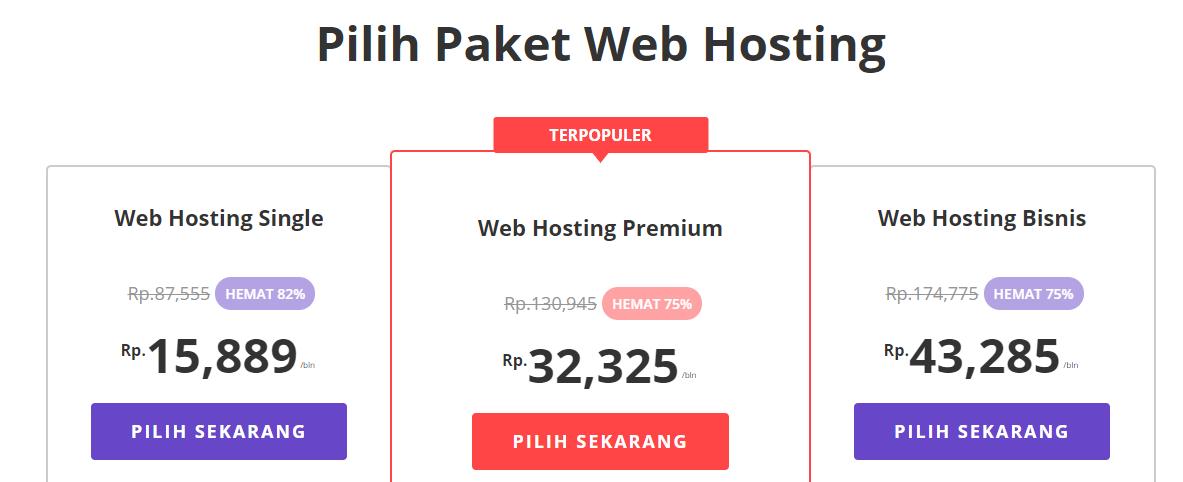 Pilih hosting untuk desain website
