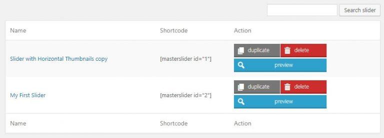 Shortcode slider