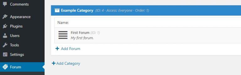 Struktur standar untuk forum WordPress
