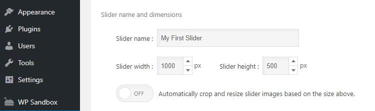 Mengatur ukuran dan nama slider