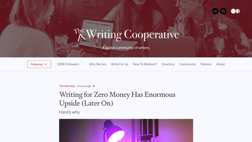The Writing Cooperative reverse blog