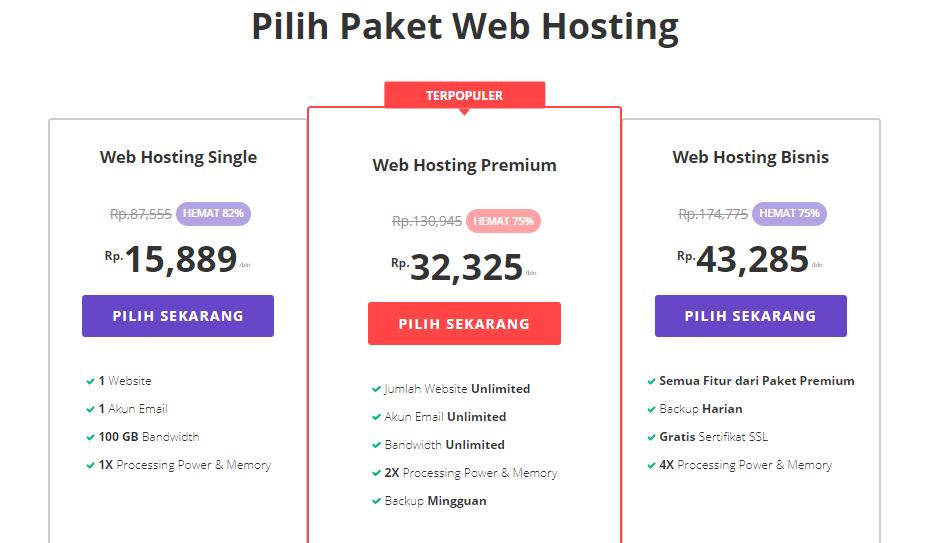 Paket shared web hosting